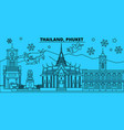 thailand phuket winter holidays skyline merry vector image vector image