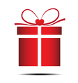 The red gift box on a white background vector image vector image
