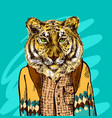 tiger in knitted sweater vector image vector image