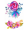 Watercolor flowers set Colorful floral collection vector image vector image