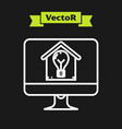white line computer monitor with smart house and vector image vector image