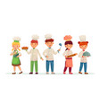 young chefs happy children cooks kids cooking vector image