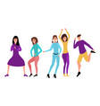 young happy dancing people vector image vector image