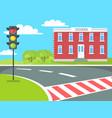 pedestrian school building traffic lights stand vector image