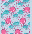 sun with clouds seamless pattern vector image