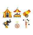 set of circus icon vintage clip art set vector image