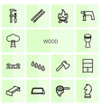 14 wood icons vector image vector image