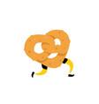 a running bagel running pretzels crunchy vector image