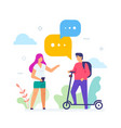 boy and girl chatting in park icon vector image