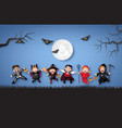 children in halloween costumes vector image vector image