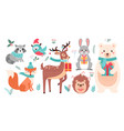 christmas cute woodland animals set forest xmas vector image vector image