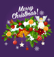 christmas garland with xmas bell for new year card vector image