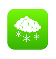 clouds and snow icon digital green vector image vector image