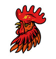 colorful rooster head with red crest vector image