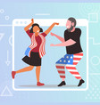 couple celebrating 4th july american vector image vector image