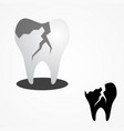 cracked tooth flat icon for dental care vector image vector image