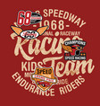 cute kid driver speedway racing team vector image vector image