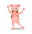 cute long hair girl in funny pig costume vector image vector image