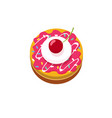 delicious small cake with cherry icon or vector image vector image
