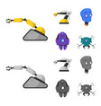 design of robot and factory icon set of vector image vector image