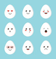 flat design cartoon cute chicken egg characters vector image