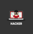 hacker coding bug on laptop icon vector image vector image
