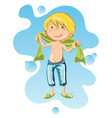 happy boy wrapped in bath towel vector image