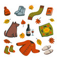 hello autumn icons autumn essentials warm clothes vector image vector image