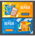 home repair service banner horizontal set vector image vector image