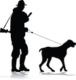 Hunter and dog silhouette vector image vector image