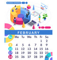 isometric calendar 2019 financial administration vector image vector image
