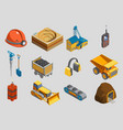 isometric mining elements set vector image vector image