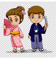 japanese boy and girl in costume vector image vector image