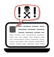 laptop warning malware spam online fraud trojan vector image