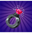 magical ring with crystal game design concept vector image vector image
