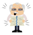 old man torn paper on white background vector image vector image