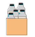 paper bag with milk bottles in watercolor vector image