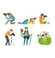 photographers and photo reporters with cameras set vector image vector image