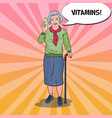 pop art senior woman with vitamins health care vector image vector image