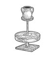 potter wheel with pot sketch vector image vector image