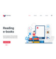 reading e-books landing page student using vector image vector image