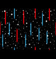 red and blue lasers on the background of stars vector image