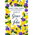 save the date wedding flowers card vector image vector image