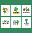 set of funny cacti cards and lettering vector image vector image