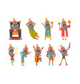 set of funny king in various clothes cartoon vector image
