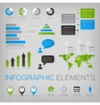 Set of infographic elements with world map vector image vector image