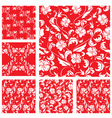 Set of Vintage ornate seamless patterns with white