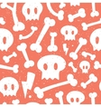Skulls and bones red pattern vector image