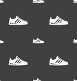 Sneakers icon sign Seamless pattern on a gray vector image vector image
