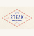 steak logo meat label logo with text steak vector image vector image